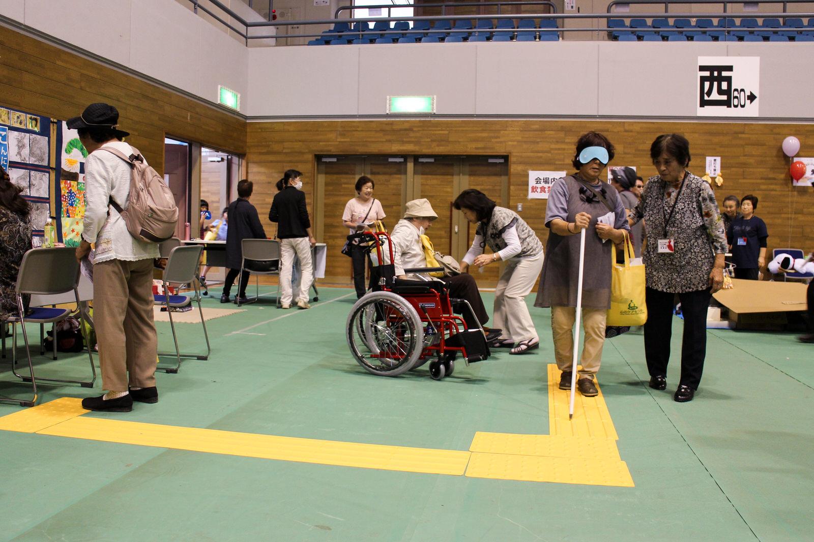 カリタス米川ベースの福祉体験!車椅子、視覚障害などの疑似体験